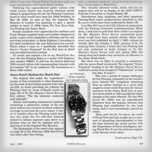 """""""How I Found the Original James Bond Watch,"""" NAWCC """"Bulletin,"""" Journal of the National Association of Watch & Clock Collectors"""