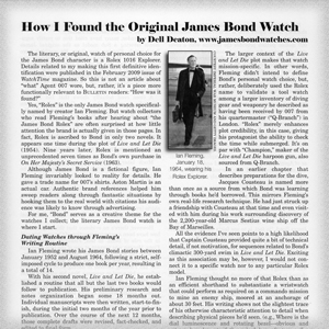 """How I Found the Original James Bond Watch,"" NAWCC ""Bulletin,"" Journal of the National Association of Watch & Clock Collectors"