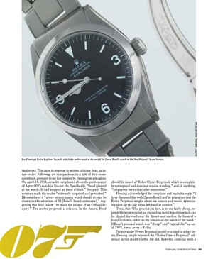 """WatchTime, """"Discovered: James Bond's Rolex"""" (page 89)"""
