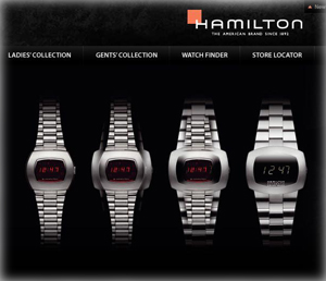 Hamilton Watch website home page, featuring Pulsomatic evolution, January 5, 2011
