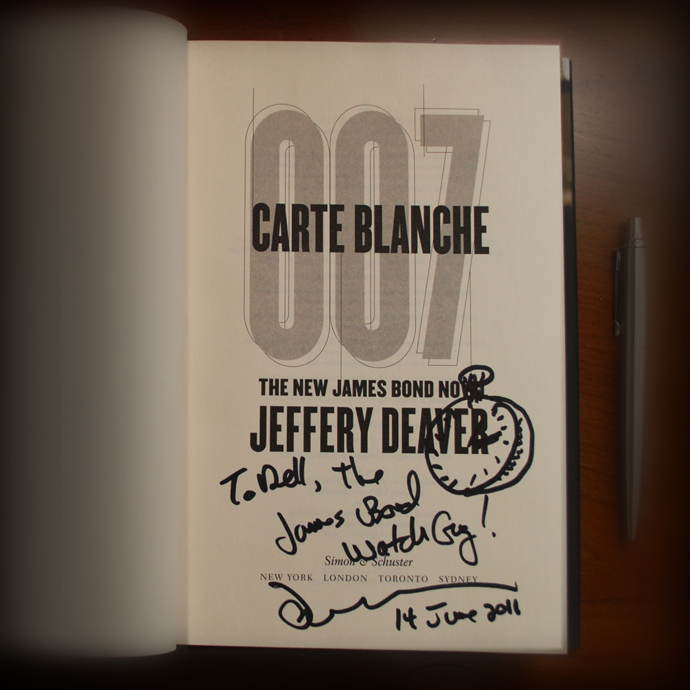 Jeffery Deaver personally inscribed and signed this copy of Carte Blanche to Dell Deaton, at the Simon & Schuster VIP launch party in New York City