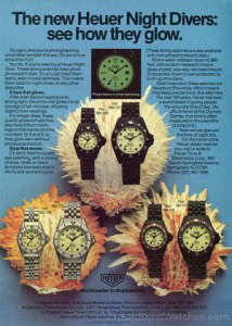 "Heuer 980-series Night Dive watch ad, placed just a few years before it would become a James Bond watch in ""The Living Daylights"""