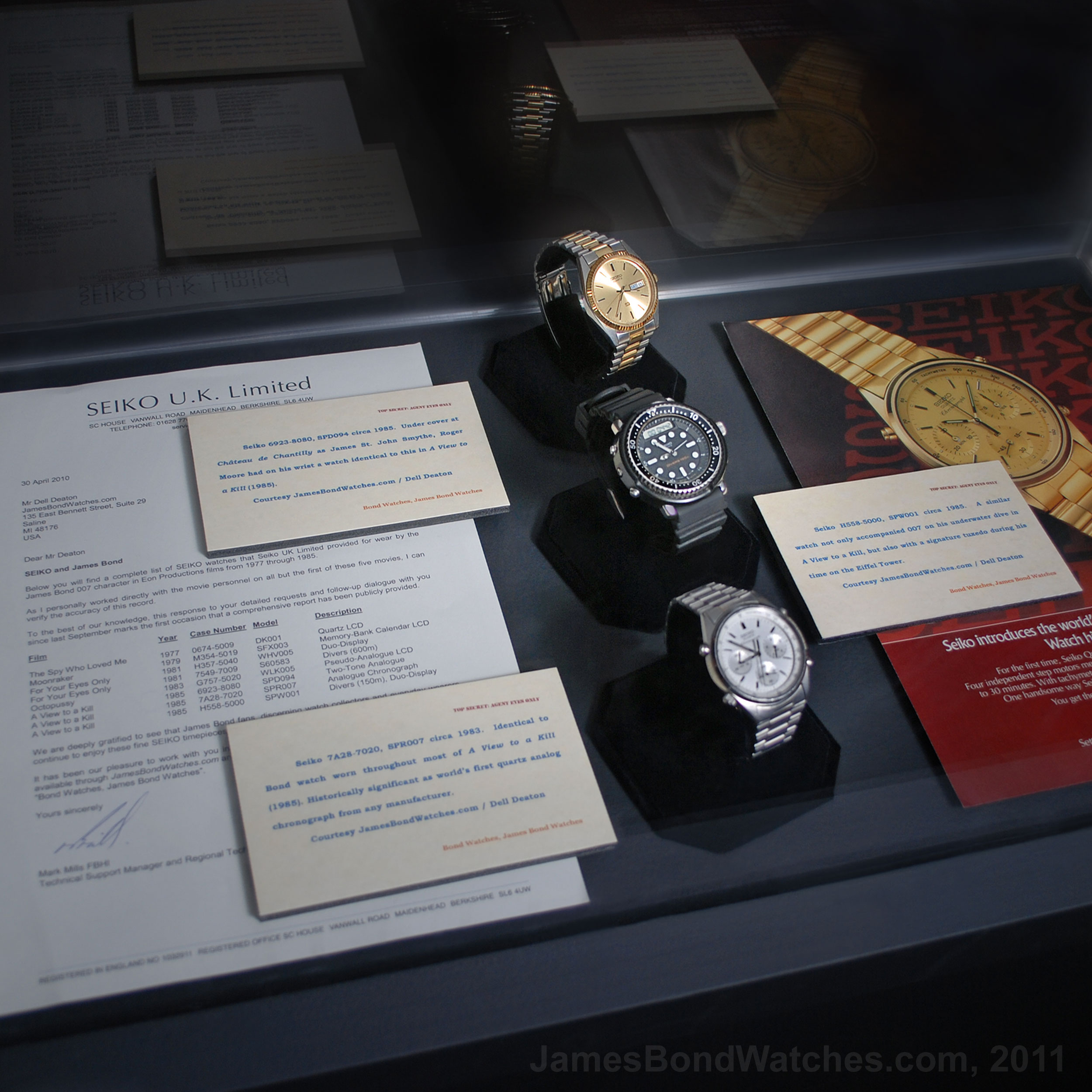 Public display of original documentation from Seiko UK exclusively to Dell Deaton: Identifying all watch models provided for EON Productions James Bond movies 1977-1985