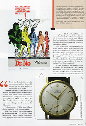 "The Time When James Bond Did Not Wear a Wristwatch,"" Wrist Watch magazine (May 2014), by Dell Deaton"
