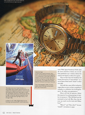 """The Time When James Bond Did Not Wear a Wristwatch,"" Wrist Watch magazine (May 2014), by Dell Deaton"