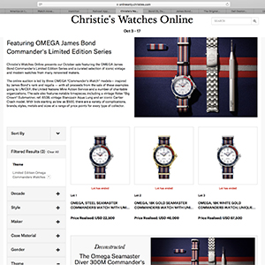 Screen capture of Christie's Watches Online: Featuring OMEGA James Bond Commander's Limited Series results, October 17, 2017.