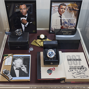 """James Bond Originals"" display, curated by Dell Deaton of JamesBondWatches.com and opened November 17, 2017 at National Watch & Clock Museum, Columbia PA"